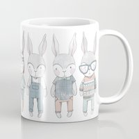 bunnies Mugs featuring BUNNIES by Catalina Graphic