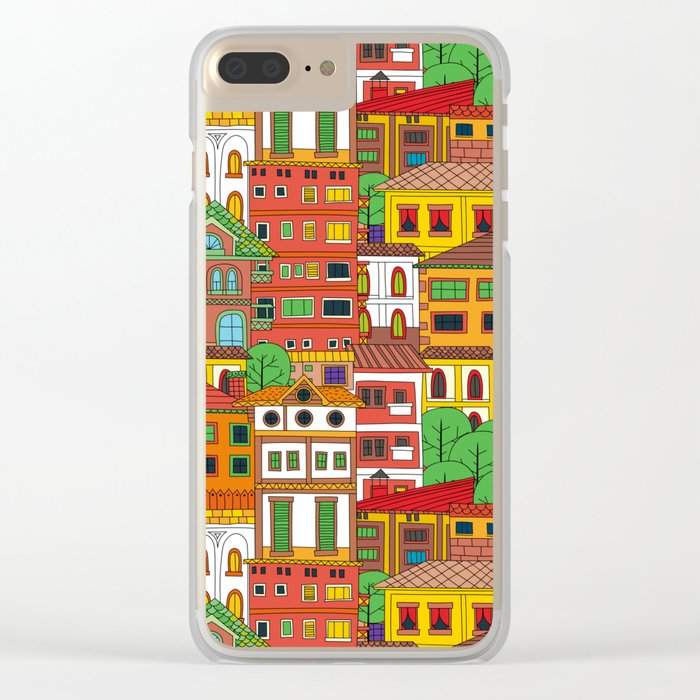 Doodle town pattern Clear iPhone Case