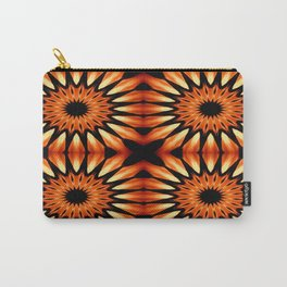 Orange & Black Pinwheel Flowers Carry-All Pouch