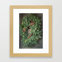 Christmas Wreath on Door Framed Art Print