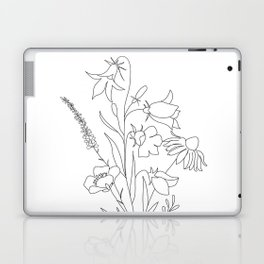 Small Wildflowers Minimalist Line Art Laptop & iPad Skin