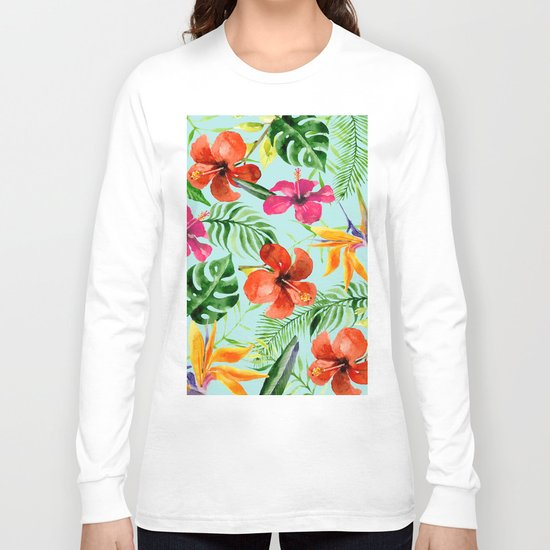 Colorful Tropical Pattern Long Sleeve T-shirt