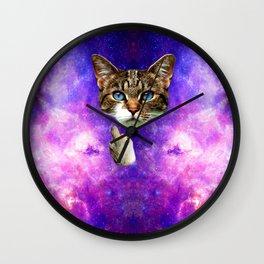 cat Fuck you finger galaxy Wall Clock