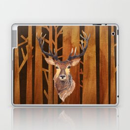Proud deer in forest 1- Watercolor illustration Laptop & iPad Skin