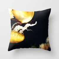 jellyfish Throw Pillows featuring Jellyfish Love by Analog Fetish Monster