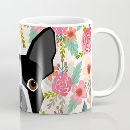 Boston Terrier floral dog head cute pet portrait gifts for boston terriers must haves Coffee Mug
