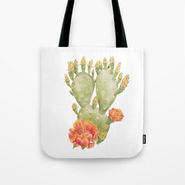 Cactus and Flower Watercolour Painting Print by Magda Opoka Tote Bag