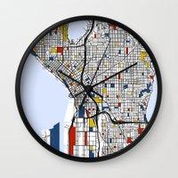 mondrian Wall Clocks featuring Seattle Mondrian by Mondrian Maps