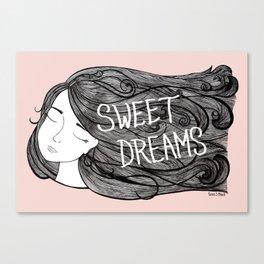Sweet Dreams - Illustration by Taren S. Black Canvas Print