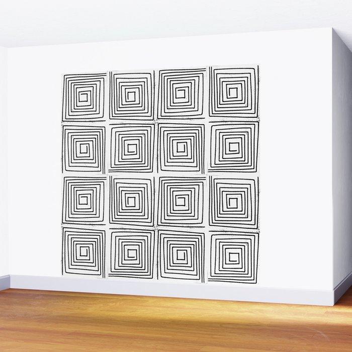 Minimal linocut printmaking geometric square maze pattern scandinavian  minimalist Wall Mural