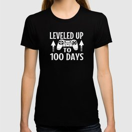 One Hundred Days of School Video Game Controller Leveled Up to 100 Days T-shirt