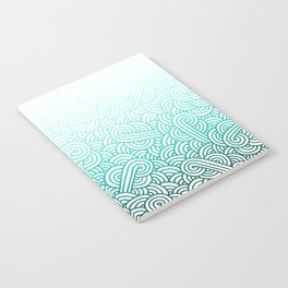 Gradient turquoise blue and white swirls doodles Notebook