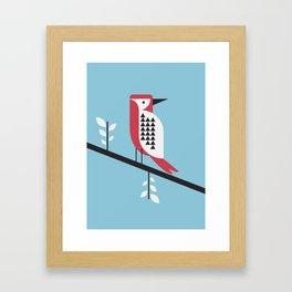 woodpecker in blue Framed Art Print