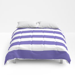 Blue-violet (Crayola) - solid color - white stripes pattern Comforters
