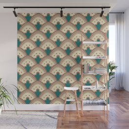 Fan Pattern Brown and Green 991 Wall Mural