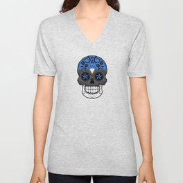 Sugar Skull with Roses and Flag of Estonia Unisex V-Neck