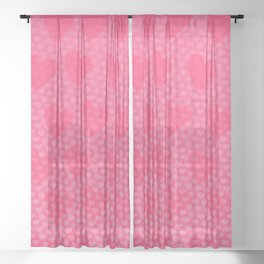 Pink Designer Princess Heart Sheer Curtain