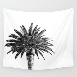Lush Palm {2 of 2} / Black and White Sky Tree Leaves Art Print Wall Tapestry