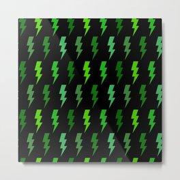 Green Lightning Bolt Electric Storm Thunder Metal Print