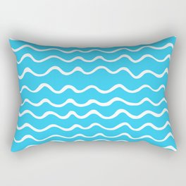 Simple aqua and white handrawn waves - for your summer on #Society6 Rectangular Pillow