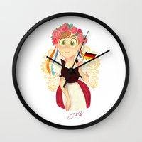 germany Wall Clocks featuring Germany by Melissa Ballesteros Parada