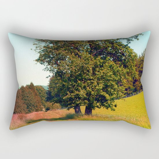 Old tree, vibrant surroundings Rectangular Pillow