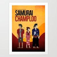 samurai champloo Art Prints featuring Pixel Art - Samurai Champloo by kevin broke it