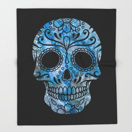 Blue Lace Sugar Skull Throw Blanket