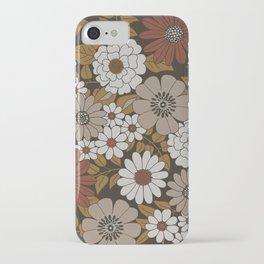 Brown, Orange, and Ivory Retro Flower Pattern iPhone Case