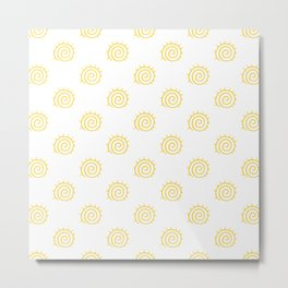 Yellow Spiral Sun on white background Metal Print