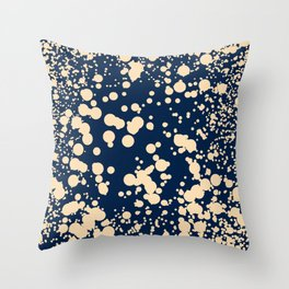 Modern stylish navy blue ivory confetti pattern Throw Pillow