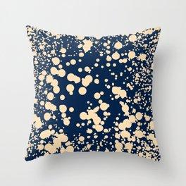 Modern stylish navy blue ivory confetti pattern Throw Pillow