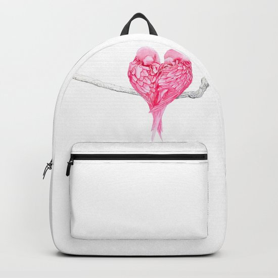 Birds Love Pink Heart Backpack