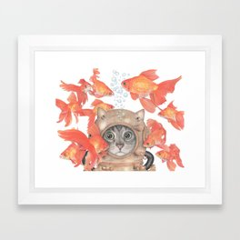 Scuba Cat Among the Fishes Framed Art Print
