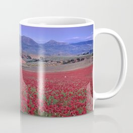 Big Fields Of Poppies. At Purple Sunset. Sierra Arana And Sierra Nevada Coffee Mug