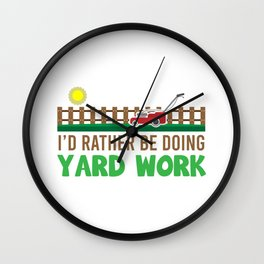 Lawn Mowing Mower Gardener Yard Work Wall Clock