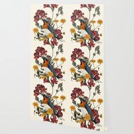 Little Bird and Flowers Wallpaper