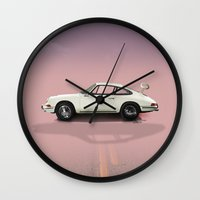 porsche Wall Clocks featuring Porsche by Tony Vazquez