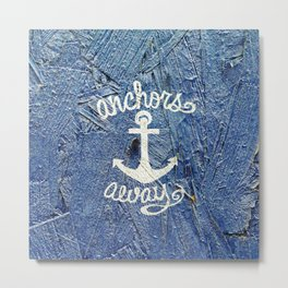 White Nautical Anchors Blue Vintage Wood Texture Metal Print