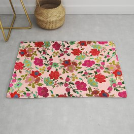 Modern pink gold turquoise red colorful floral Rug