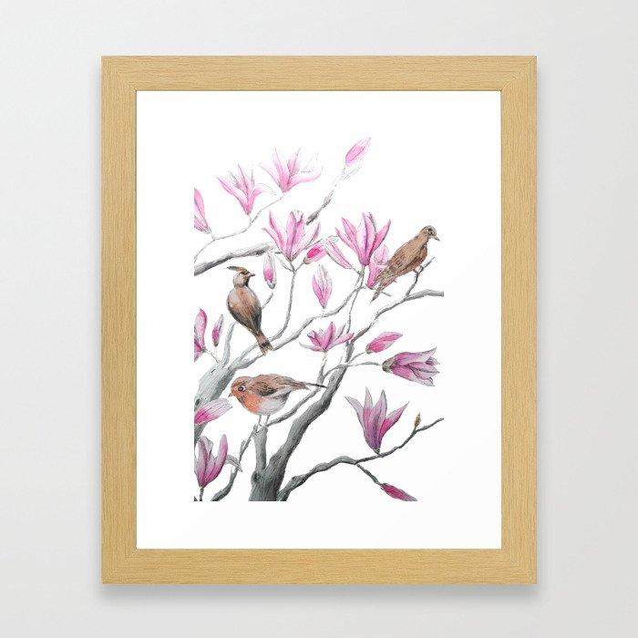 magnolia flowers and birds Framed Art Print