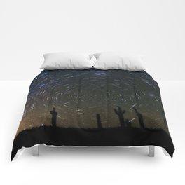 Star Trails over Atacama Desert Cacti Comforters