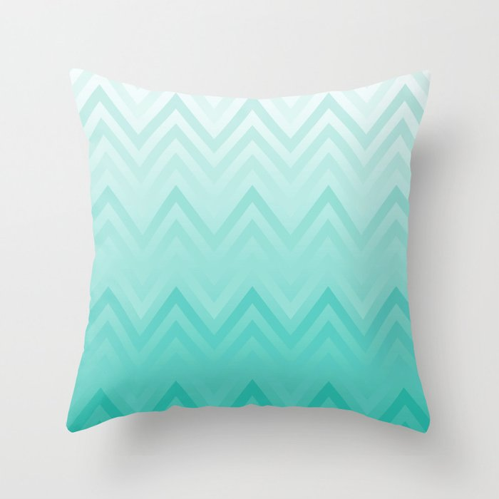 Fading Teal Chevron Throw Pillow