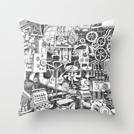 DINNER TIME FOR THE ROBOT Throw Pillow