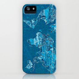 World map collage blue iPhone Case