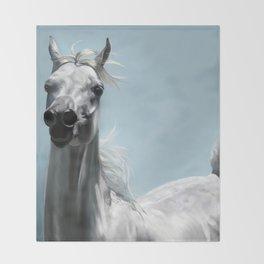 Arabian White Horse Painting Throw Blanket
