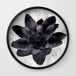 Black Lotus Watercolor Digital Art Wall Clock