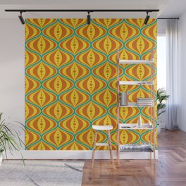 Retro Psychedelic Saucer Pattern in Orange, Yellow, Turquoise Wall Mural