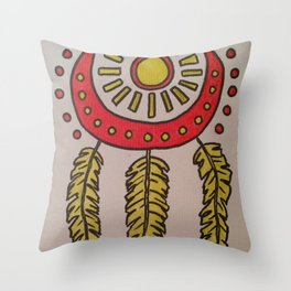 Feathers and sun Throw Pillow