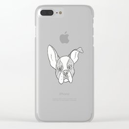 Grumpy B&W Boston Terrier Clear iPhone Case